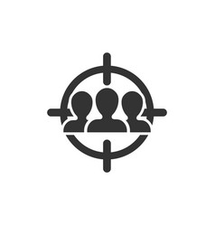 Target audience icon in flat style focus on vector