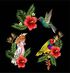 Tropical birds embroidery patches with flowers vector