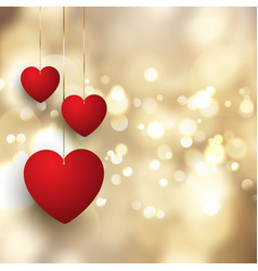 valentines day background with hanging hearts vector image