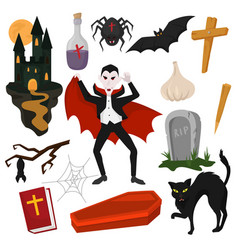 vampire cartoon dracula character in scary vector image