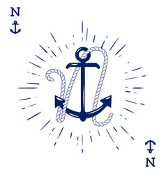 Vintage label with an anchor and letter made of vector