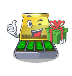 With gift cash register with lcd display cartoon vector