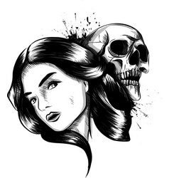 woman holds human skull in hand dark magic witch vector image
