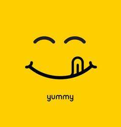 yummy face smile delicious icon logo yummy tongue vector image