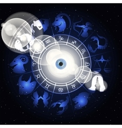 Zodiac signs in the space around the eye with vector image