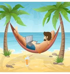 freelancer at the beach vector image