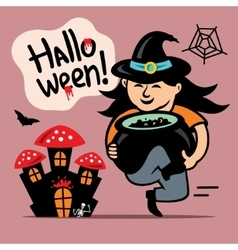 Halloween Witch with cauldron Cartoon vector image vector image