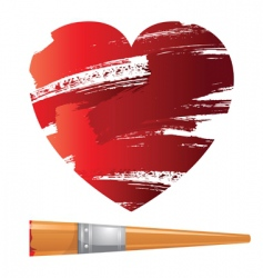 heart and brush vector image