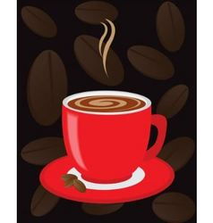 red cup of coffee vector image