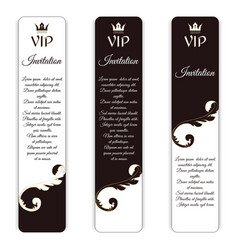Set of three vertical elegant vip banners with a vector
