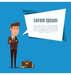 Business man and dialog bubble vector image