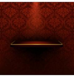 Empty shelf red luxury vector image