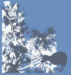 kiwi in bush vector image vector image