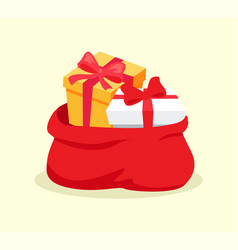 open red bag full of christmas presents vector image