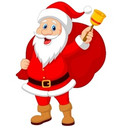 Santa Claus cartoon with bell carrying sack vector image vector image