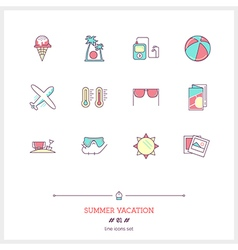 summer vacation line icons vector image vector image