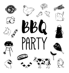 BBQ party logos and labels monochrome vector image vector image