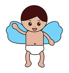 cute cupid flying hand waving cartoon vector image vector image
