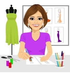 designer drawing dress design sketches vector image vector image