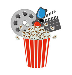 pop corn film production film board and 3d vector image