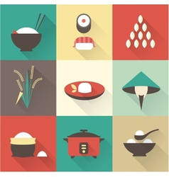 Rice icons vector image vector image