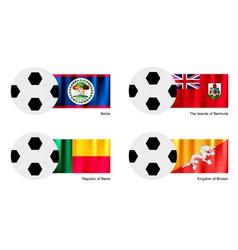 Soccer Ball with Belize Bermuda Benin flag vector image vector image