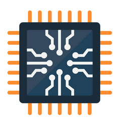 chip flat icon circuit board and cpu vector image