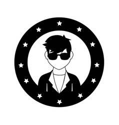 circular frame with silhouette rock star man vector image