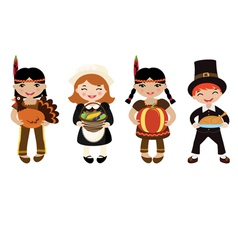 Indians and piligrims vector image
