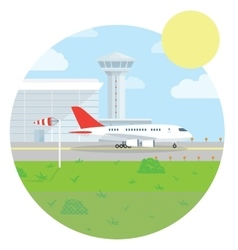 International Airport landscape Flat style design vector image