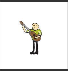 Man with a musical instrument electric guitar vector