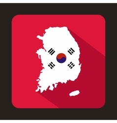Map of South Korea icon flat style vector image vector image