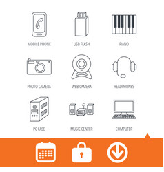 photo camera headphones and usb flash icons vector image