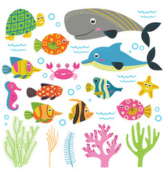 set of isolated with animals sea part 2 vector image vector image