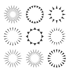 Set of sparkles and starbursts with rays vector image vector image
