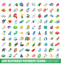 100 business payment icons set isometric 3d style vector image