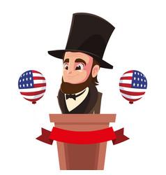 Abraham lincoln on podium usa happy presidents vector