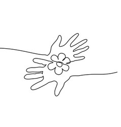 Abstract hands holding flower continuous one line vector
