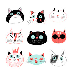 amusing portraits cats vector image