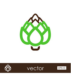 artichoke outline icon vegetable vector image