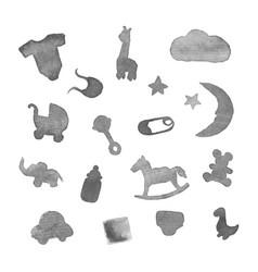 baby stuff watercolor design elements vector image