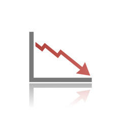 Bankruptcy chart icon with reflection on white vector