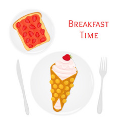 belgian waffle with cream toast strawberry jam vector image