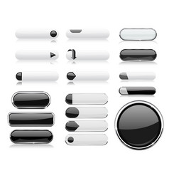 Black and white menu buttons interface elements vector