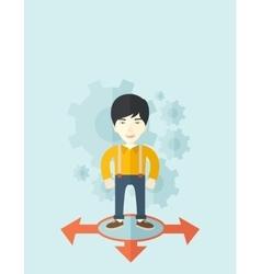 Businessman standing on three arrows vector