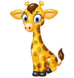 Cartoon baby giraffe sitting isolated vector image