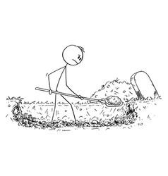 Cartoon man digging grave vector
