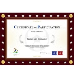 Certificate of participation template sport theme vector image