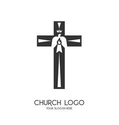 Church logo christian symbols vector