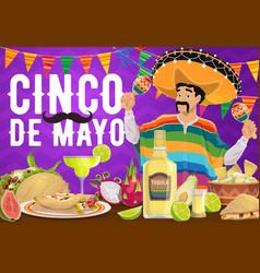 cinco de mayo mexican holiday food and mariachi vector image